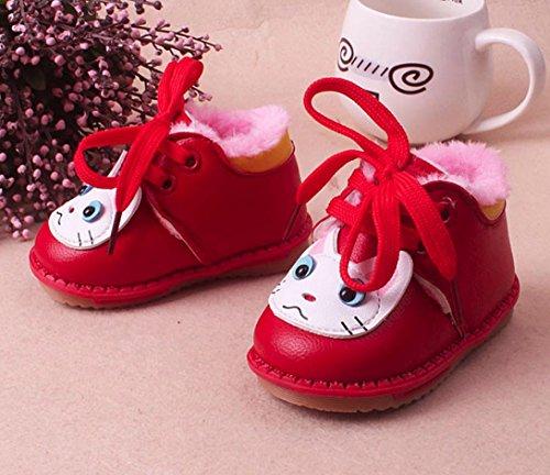 BZLine® Babyschuhe Herbst Winter Warm Girl Boy Cartoon Schuhe Stiefel Rot