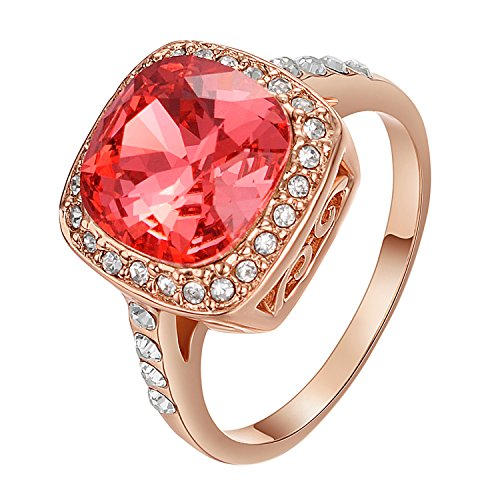Yoursfs Statement Rings Coral Red Austrian Crystal Ring for Women 18ct Rose Gold Plated Fashion Cocktail Jewellery Gift