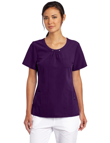 UPC 737314529797, Dickies Scrubs Women's Xtreme Stretch Junior Fit Scoop Neck Top, Eggplant, Small