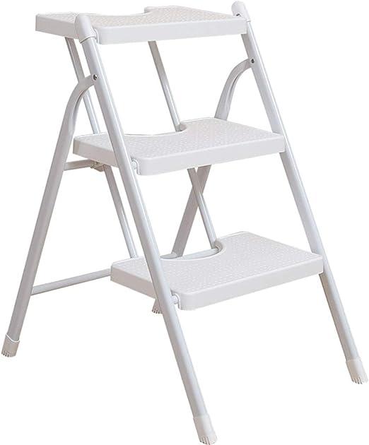 XITER Taburete escalera, Escalera blanca Doblez para el hogar Engrosamiento Escalera de pie Escalera de doble uso Escalera móvil Escalera portátil de interior Escalera de tres escalones Escalera unila: Amazon.es: Hogar