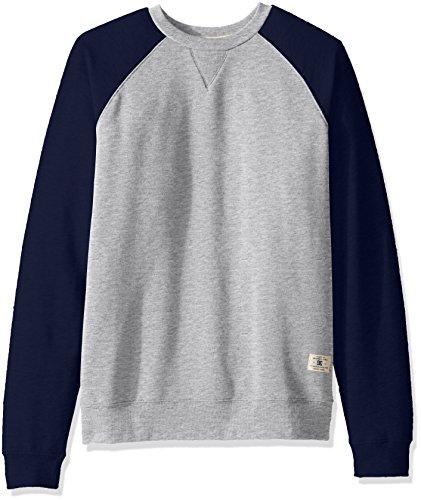 DC Men's Rebel Crew Raglan Sweatshirt, Grey Heather/Summer Blues, Large