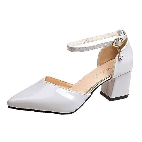 37b57f6dd04 Zapatos de tacón Ancho Altas Zapatos de Vestir Otoño para Mujer 2018 Moda  PAOLIAN Calzado de Charol de Punta Señora Talla Grande Fiesta Zapatos con  Atado al ...