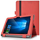 KuGi Asus Transformer Book T101HA case,Multi-Angle Stand Slim-Book PU Leather Cover Case for ASUS Transformer Book T101HA-C4-GR 10.1-Inch 2 In 1 Touchscreen Laptop (Red)