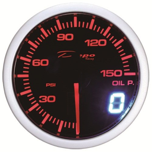 DEPO 60mm Racing Red white LED Digital Oil Pressure Gauge