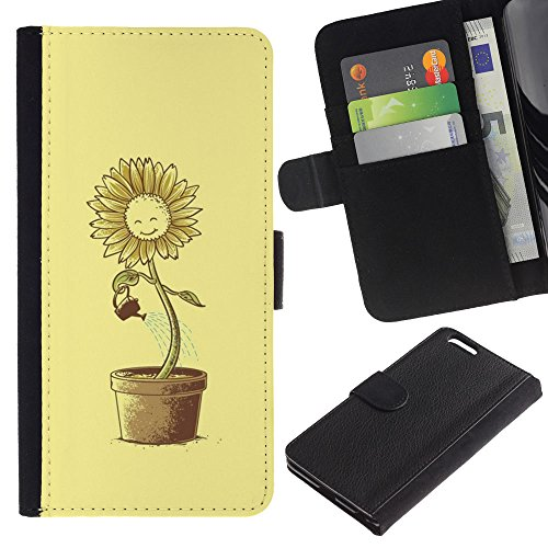 MobileMart / Apple Iphone 6 PLUS 5.5 / sun flower pot watering can yellow happiness / Cuir PU Portefeuille Coverture Shell Armure Coque Coq Cas Etui Housse Case Cover Wallet Credit Card