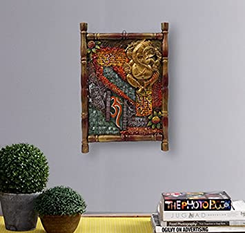 999store Wooden Hand Crafted Antique Royal Ganesha Painting With