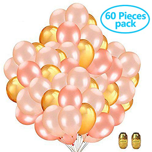 60 Pieces 12 Inch Latex Balloons Party Decorations With Assorted Colors for Bridal Shower, Birthday Party, Wedding, Engagement, Proms(Champagne Gold, Gold, Rose Gold, 20Pieces Per Each Color (Decorations Assorted)