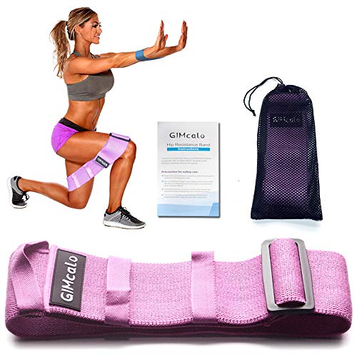 GIMCALO Hip Resistance Bands for Legs and Butt, Booty Band Adjustable Non-Slip Non-Roll Workout, Wide Thick Elastic Bands Exercise, Portable Glute Bands Loop for Women Men, Butt Building (Pink)