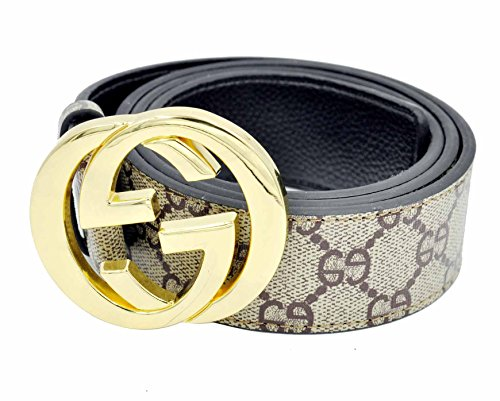 HE-products G-Style unisex Business Casual Belt [3.8CM] (Brown with gold buckle, (Business Casual Belt)