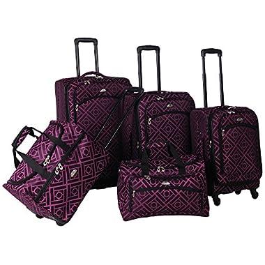 American Flyer Astor 5-Piece Spinner Luggage Set, Black/Purple, One Size