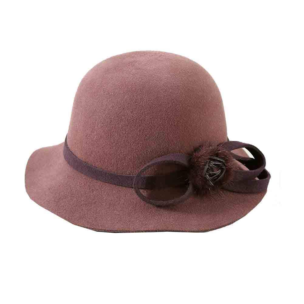 Bean paste color SUNNY Cloche Bucket Hats for Women,Elegant Solid color Winter Hat 100% Natural Fiber Church Bowler Hats with Cute Ball Accent (color   Purple)