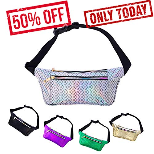 Party Fanny Pack (iAbler Holographic Fanny Pack for Women and Men Metallic 80s Waterproof Shiny Fanny Packs with Adjustable Belt Fashion Waist Bum Bag for Party, Festival, Rave, Hiking, Trip)
