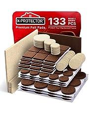 X-PROTECTOR Premium Twee Kleuren Pack Meubelpads 133 Stuk! Vilt Pads Meubelvoeten Bruin 106 + Beige 27 Verschillende Maten - Beste Houten Vloerbeschermers Beschermen Hardhout & Laminaatvloeren