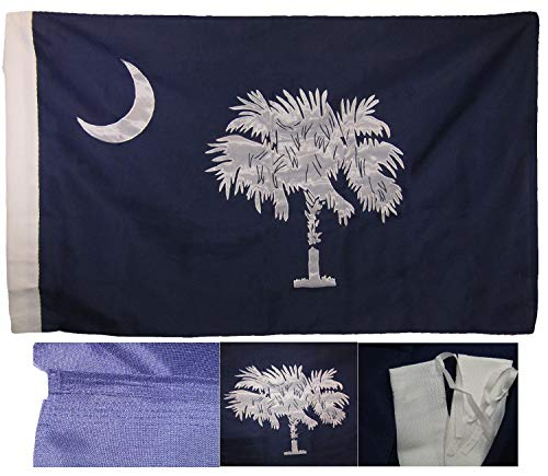 ALBATROS 3 ft x 5 ft Embroidered Sewn State South Carolina Sleeve 600D 2ply Nylon Flag for Home and Parades, Official Party, All Weather Indoors Outdoors ()