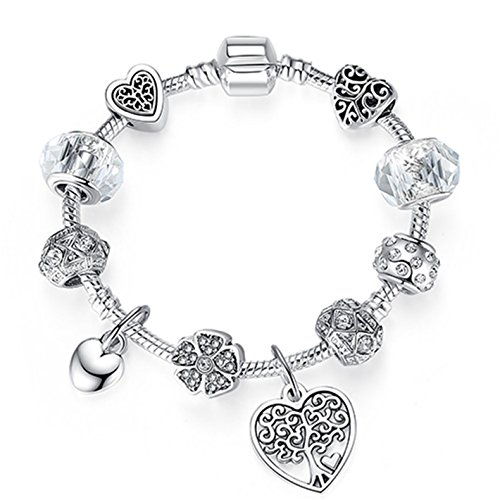 Women Bracelet 925 Unique Silver Crystal DIY Beads Bracelets Bangles Jewelry Gift PS3863 18cm