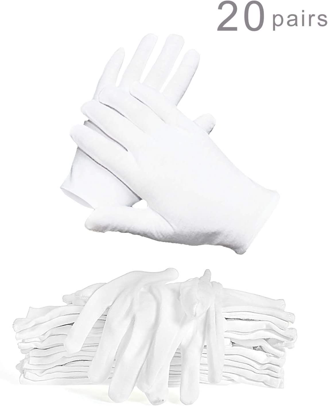 WTSHOP 20 Pairs White Working Glove, Lightweight And Thin Soft Protective Working Glove White Cotton Gloves Work Gloves For Ceremony White Gloves Cotton Gloves Working Glove White Gloves Cotton