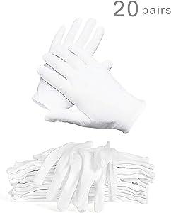 WTSHOP 20 Pairs White Working Glove, Lightweight And Thin Soft Protective Working Glove White Cotton Gloves Work Gloves For Ceremony White Gloves Cotton Gloves Working Glove White Gloves Cotton