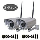 Foscam FI8906W 2-Pack Outdoor Wireless IP Camera with Nightvision with Universal Bracket