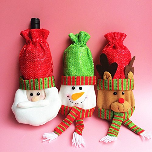 Homecube 3pcs Santa Claus Wine Bottle Cover Red Wine Bags Christmas Wine Bottle Gift Bags Set - Santa, Reindeer and Snowman Party Hotel Kitchen Table Decor (Snowman Bottle)