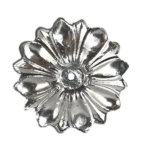 Flower Pull Antique (Antique Knob Back Plate (5 COLORS) Solid Metal Flower Shaped Decorative for Knobs, Pull (Chrome))