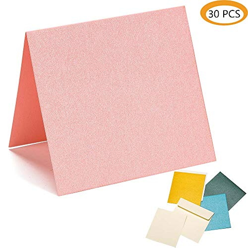 Blank Carbon Pink Color Pearl Paper Message Card Business Cards for DIY Greeting Cards, Decoration Party 4.5x4.8 inch 30Pcs Pink ()
