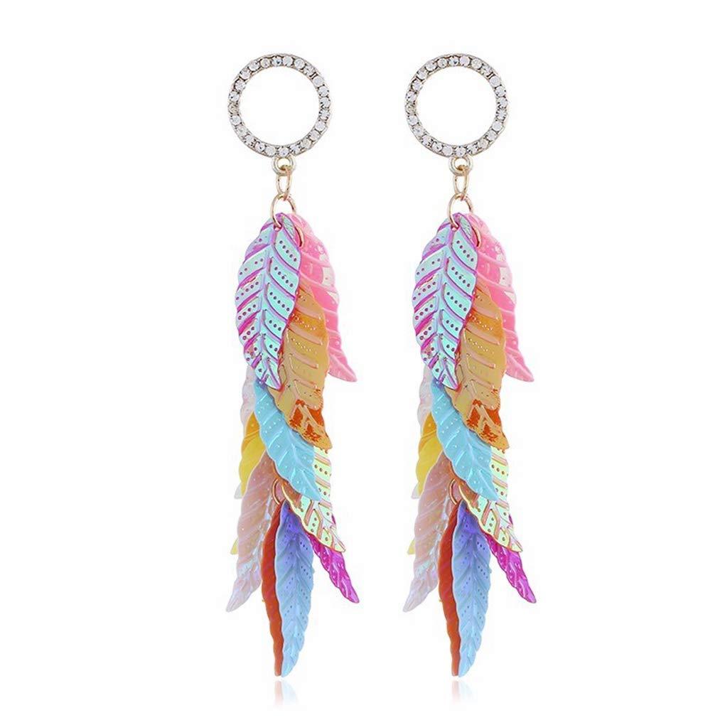 School Gift Bohemian Statement Thread Tassel Chandelier Drop Dangle Earrings with Cassandra Button Stud