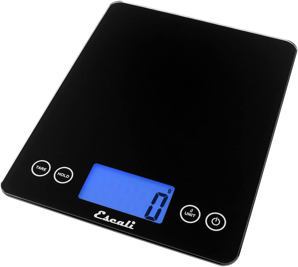Escali ArtiXL 2210IB Precision Extra-Large Glass Surface Kitchen Scale, Measures Liquid and Dry Ingredients, Tare Function, Digital LCD Display,22lb Capacity, Black