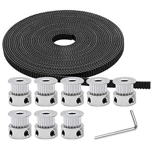 (Aokin GT2 Timing Belt Pulley, 8pcs 5mm 20 Teeth Timing Pulley Wheel and GT2 5 Meters Rubber 2mm Pitch 6mm Wide Timing Belt with Allen Wrench for Reprap, Prusa, MendelMax, 3D Printer CNC)