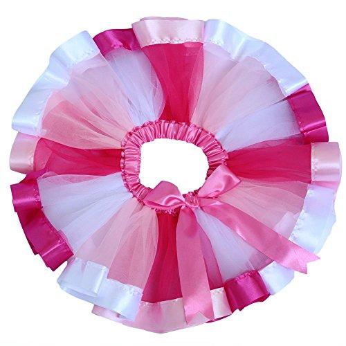 EachWell Little Girls Layered Rainbow Ribbon Tutu Skirt Dress Ballet Tiered (Pink Ribbon Tutu)