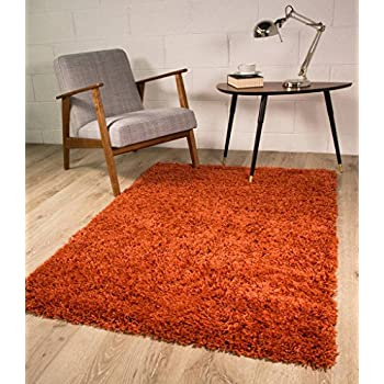 Terracotta Orange Luxury Shaggy Shag Area Rug Mat 2' x 3'7