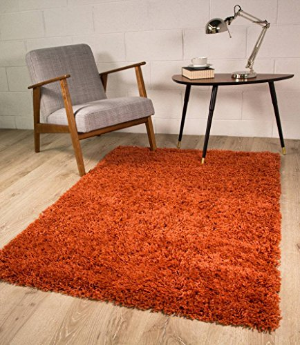 Terracotta Orange Luxury Shaggy Shag Area Rug Mat 2'7