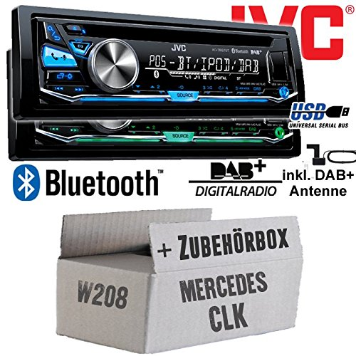 DAB+ Antenne Bluetooth Autoradio inkl USB JVC KD-DB97BT Mercedes CLK W208 Einbauset DAB+ Digitalradio