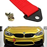 towing hook rsx - iJDMTOY Sports Red High Strength Racing Tow Strap Set for Front Or Rear Bumper Towing Hook