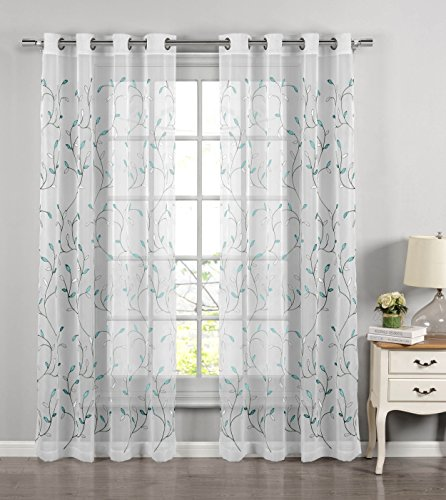 Window Elements Wavy Leaves Embroidered Sheer Extra Wide 54 x 84 in. Grommet Curtain Panel, Turquoise (Curtain Blue Living For Room Ideas)