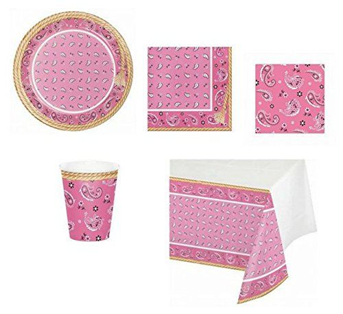 ShoppeShare Pink Disposable Party Supplies for a Bandana Cowgirl for 8 Guests, 5-Piece Bundle ()