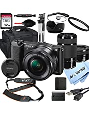$848 » Sony Alpha a5100 Mirrorless Digital Camera with 16-50mm and 55-210mm Lenses+ 32GB Card, Tripod, Case, and More (18pc Bundle)