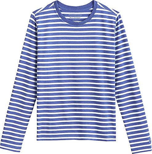 Coolibar UPF 50+ Kids' Long Sleeve Everyday T-Shirt - Sun Protective (Medium- Empire Blue/White Stripe)
