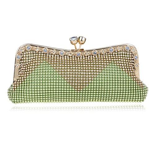Las mujeres noche garras cóctel bolsos de embrague de cristal Rhinestone para boda fiesta Verde
