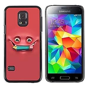 FECELL CITY // Duro Aluminio Pegatina PC Caso decorativo Funda Carcasa de Protección para Samsung Galaxy S5 Mini, SM-G800, NOT S5 REGULAR! // Pink Monster Pencil Studying