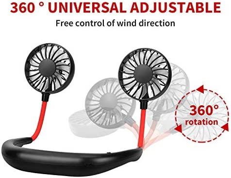Neckband Wearable Sports Office Room Hands Free Portable Neck Fan,Mini Portable USB Rechargeable Fan Headphone Design Black 360 Degrees Free Rotation Perfect for Traveling Amusement Park