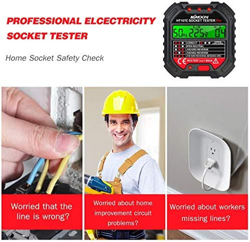 WYZXR Electric Socket Tester, Portable Outlet Circuit Tester with Voltage Display 90-250V Polarity Voltage Detector Breaker Finder