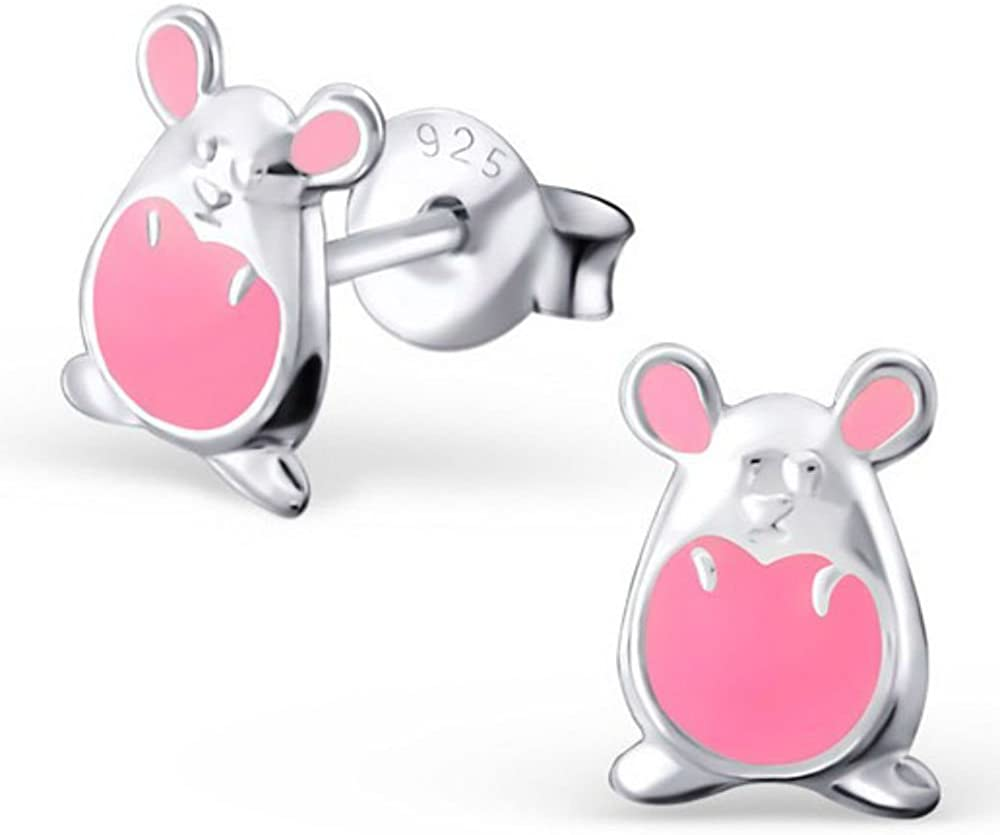 Children/'s Sterling Silver Cute Hippopotamus Pink and Purple Studded Earrings