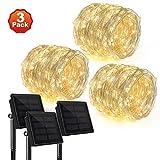 [3 Pack] Rophie 200 LEDs Solar String Lights 72 foot Warm White String Lights