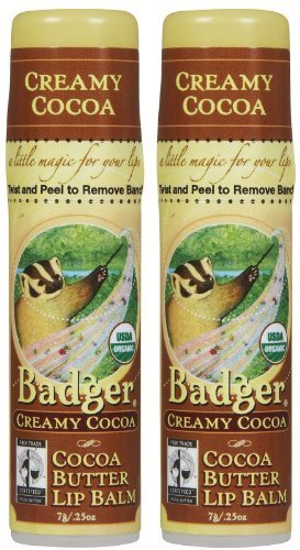 Badger Cocoa Butter Lip Balm-Creamy Cocoa, 2 pack