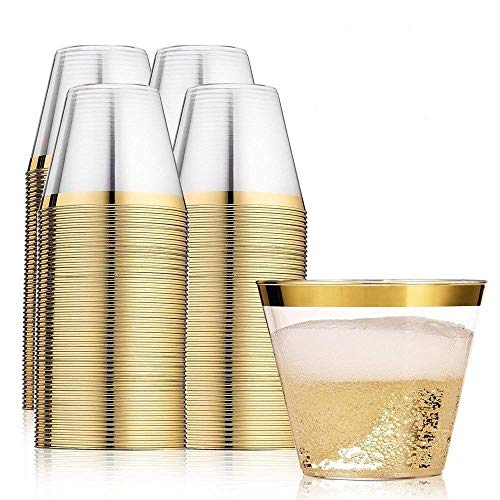 Gold Rimmed Plastic Cups – Disposable Gold Plastic Glasses – Set of 100 Gold Rimmed Tumblers 9 Oz – Great for Parties, Weddings & Events – Elegant & Fancy Beverage Cups with Gold Rim ()