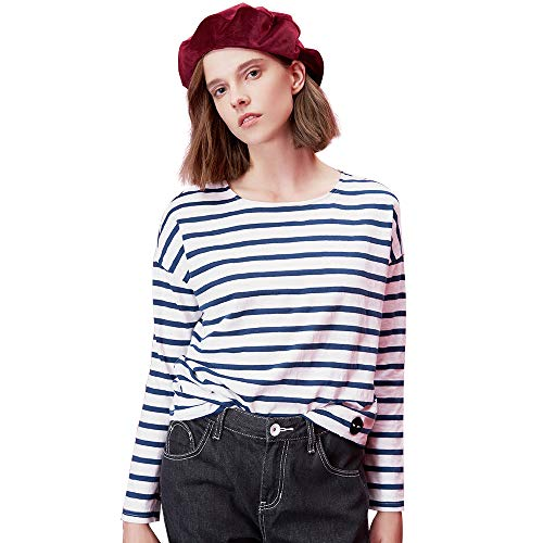 TOYOUTH T-Shirts Spring Women T-Shirt Stripe Printed Loose Base Casual Long Sleeve O-Neck Tees Tops Navy Large