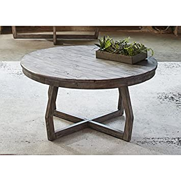 Cocktail U0026 Coffee Tables Transitional, Rustic Hayden Way Gray Wash  Reclaimed Wood Round Cocktail Table