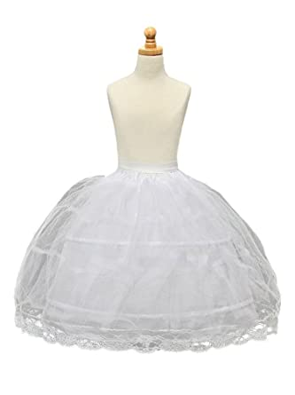 19dd39698 Image Unavailable. Image not available for. Color: Dobelove Girls 3-Hoop  Flower Girl Crinoline Petticoat Skirt (OneSize, White ...