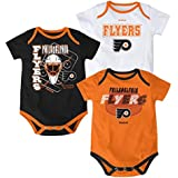 NHL Philadelphia Flyers Infant 3-Point Spread Bodysuit Set of 3