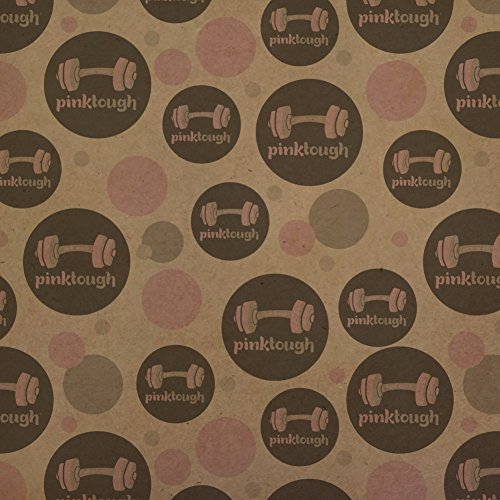 Pink Tough Barbell Cancer Logo Premium Kraft Gift Wrap Wrapping Paper Roll by Graphics and More